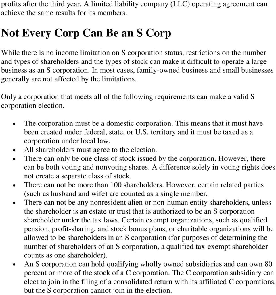 S And C Corporations Create Different Tax Consequences Pdf