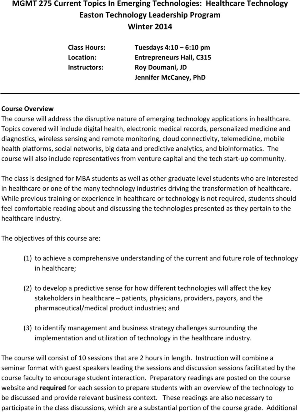 MGMT 275 Current Topics In Emerging Technologies: Healthcare