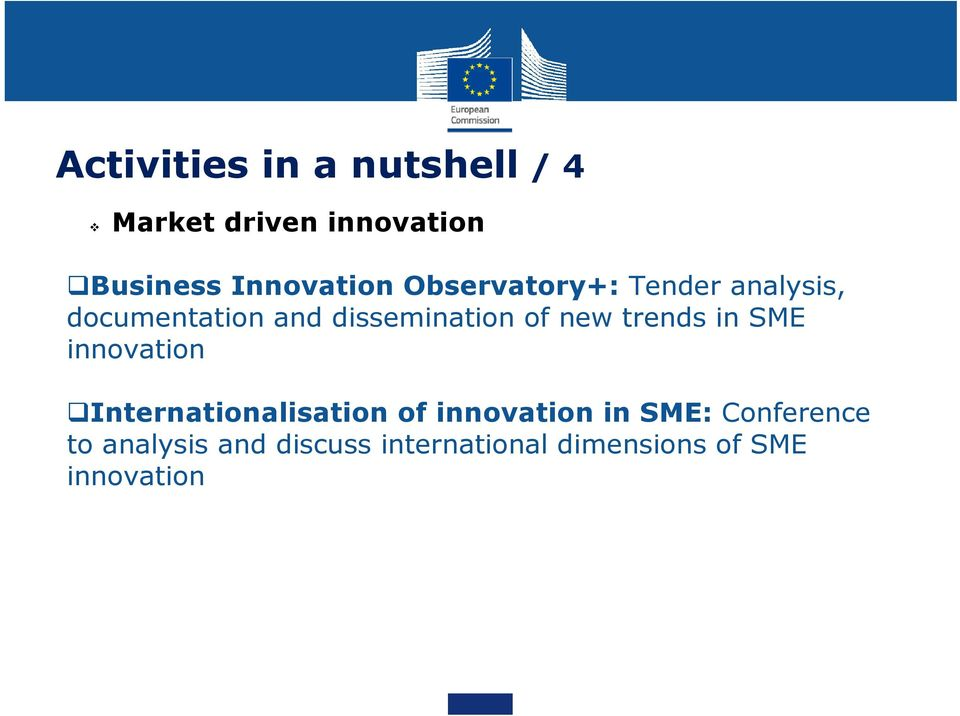 dissemination of new trends in SME innovation Internationalisation of