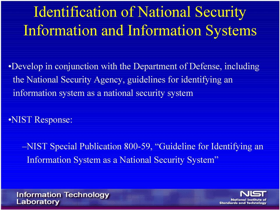 guidelines for identifying an information system as a national security system NIST
