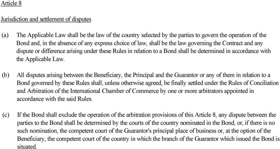 All disputes arising between the Beneficiary, the Principal and the Guarantor or any of them in relation to a Bond governed by these Rules shall, unless otherwise agreed, be finally settled under the