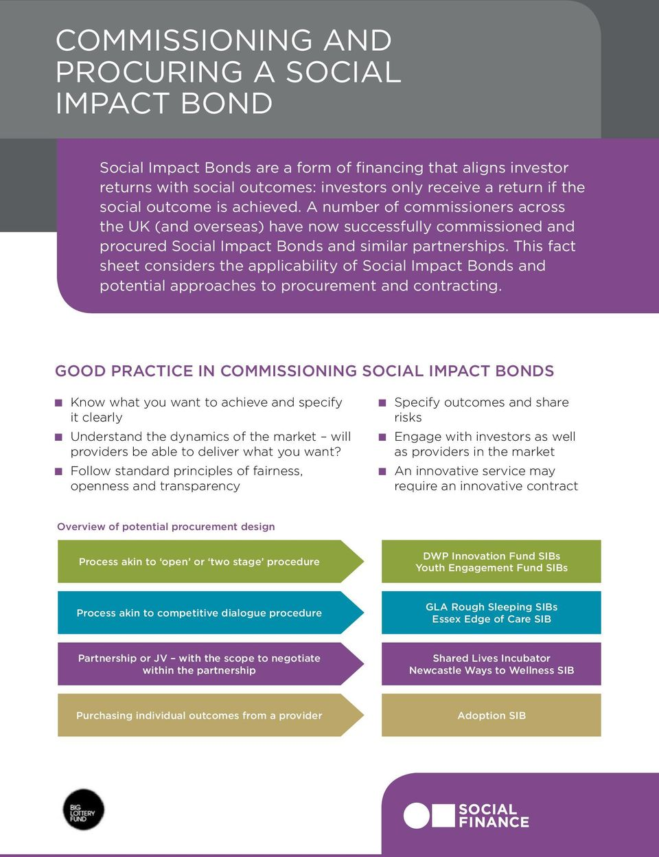 This fact sheet considers the applicability of Social Impact Bonds and potential approaches to procurement and contracting.