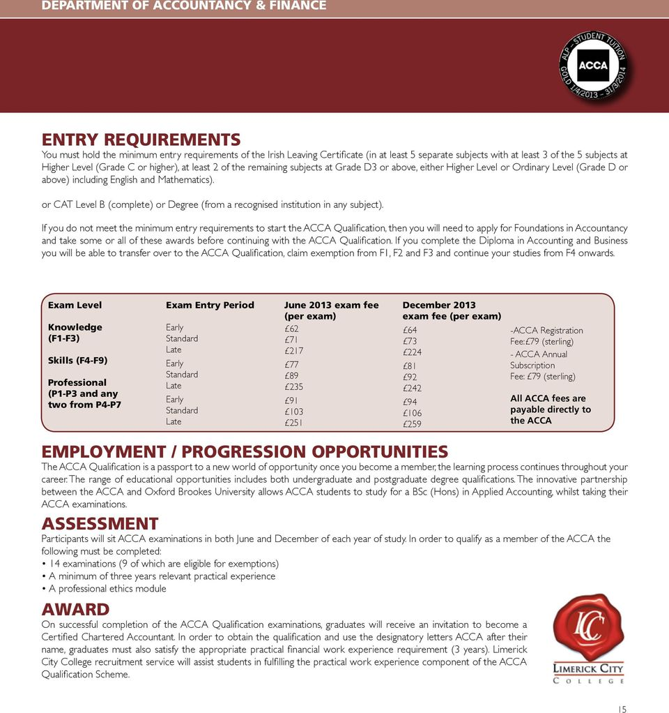 Academic Prospectus  T: (0) E: DEPARTMENT OF ACCOUNTANCY & FINANCE