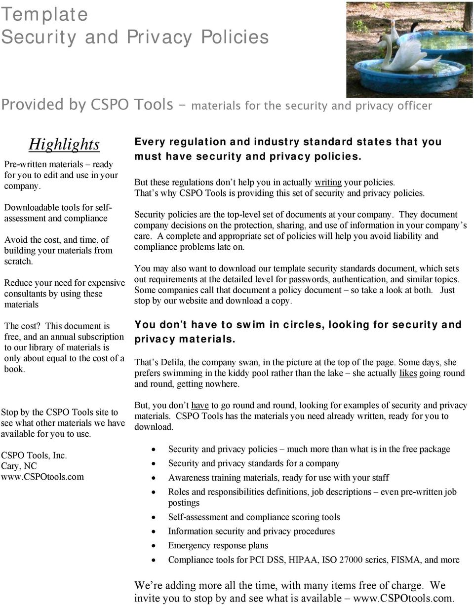 Template Security And Privacy Policies Pdf Free Download