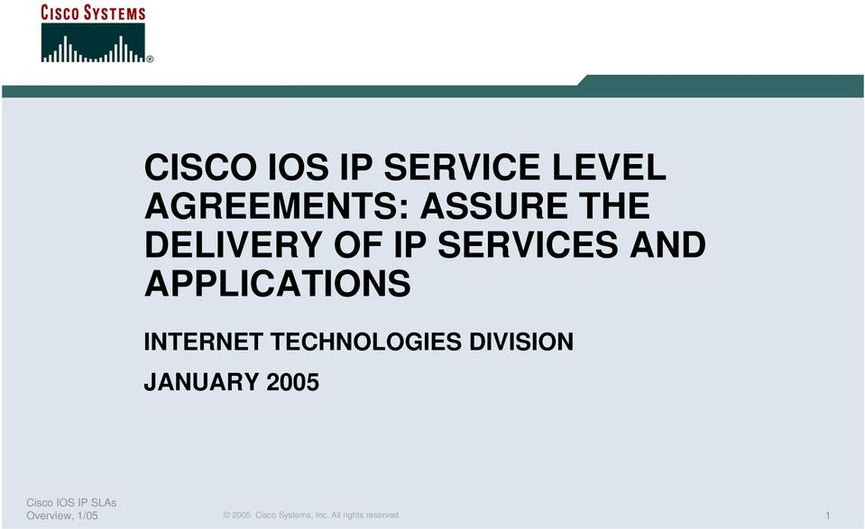OF IP SERVICES AND APPLICATIONS