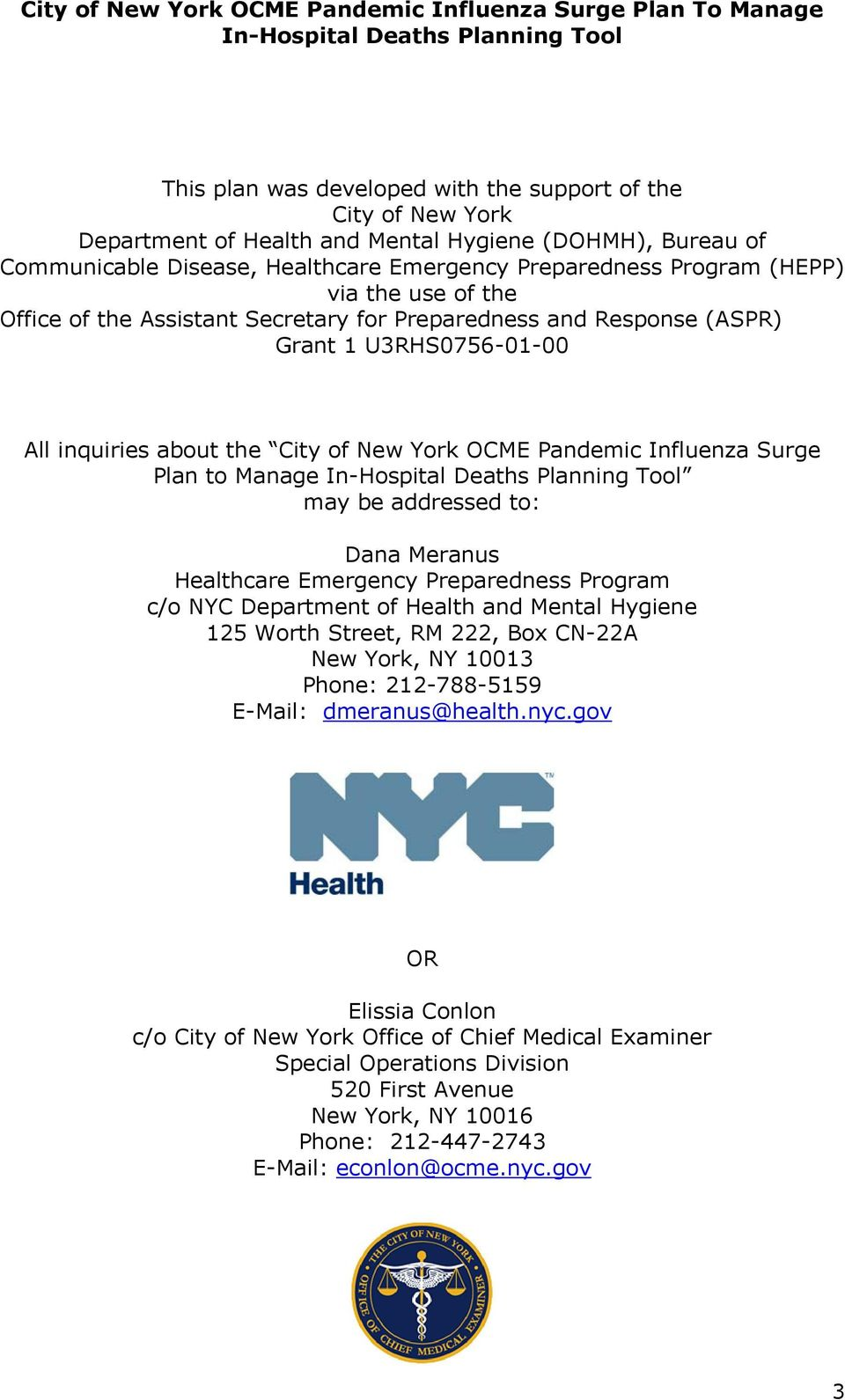 City of New York Office of Chief Medical Examiner Pandemic