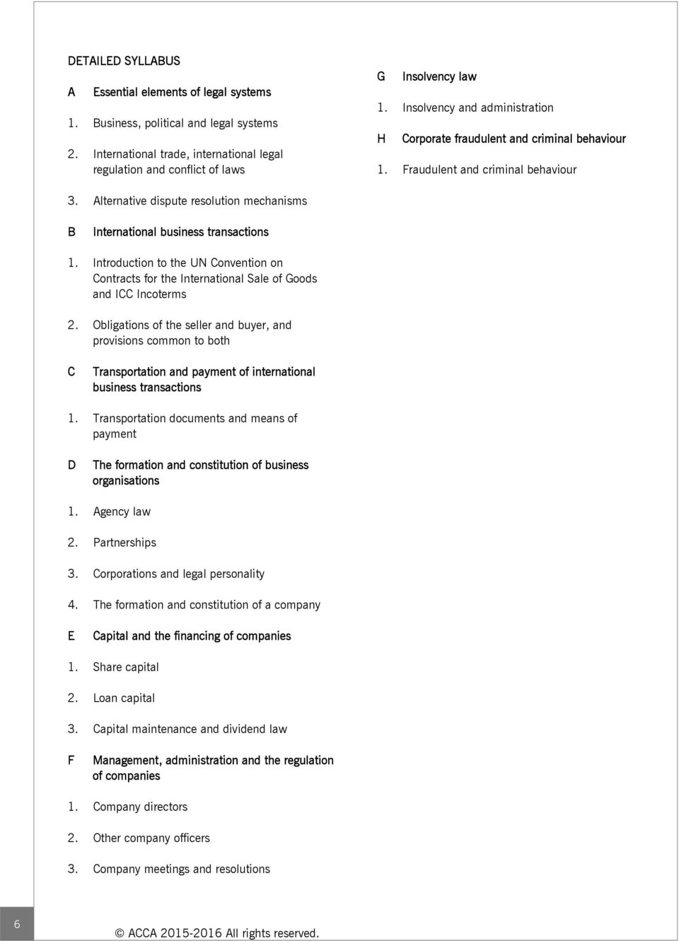 Corporate and Business Law (GLO) (F4) September 2015 (for CBE exams