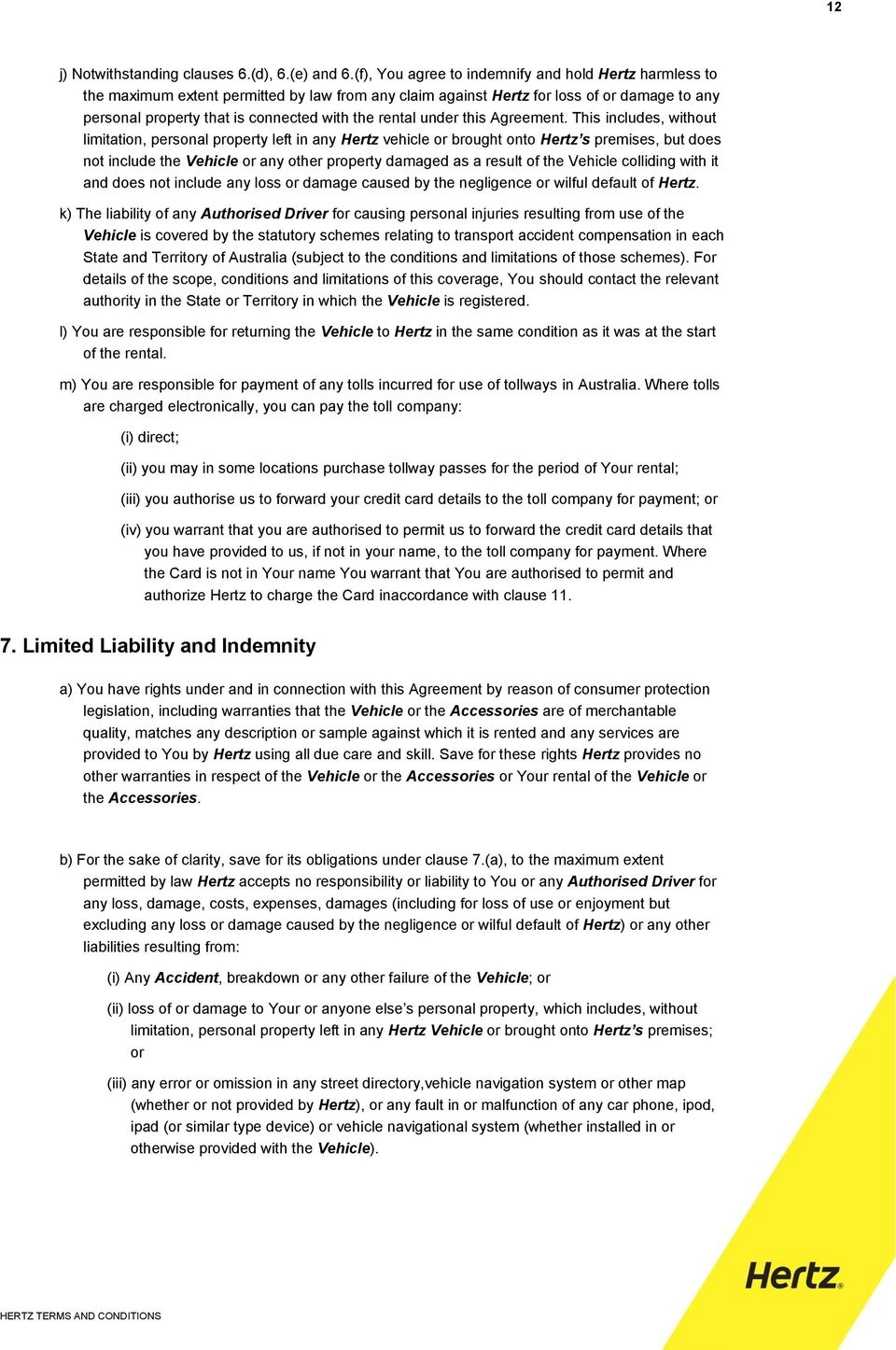 Hertz Terms And Conditions Of Rental Pdf