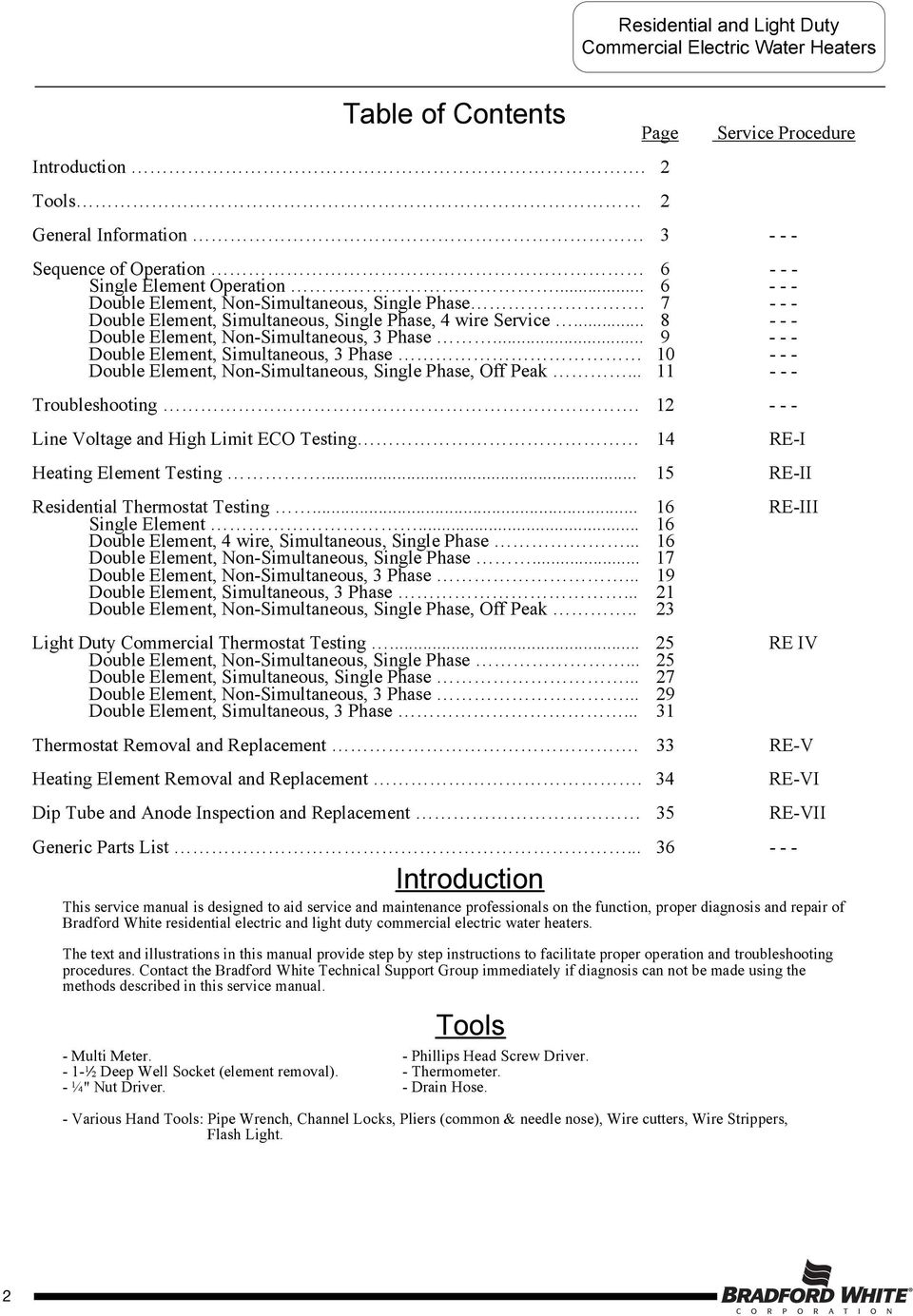 SERVICE MANUAL RESIDENTIAL ELECTRIC AND LIGHT DUTY COMMERCIAL ... on
