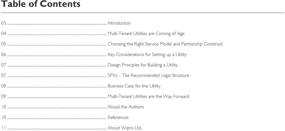 .. Key Considerations for Setting up a Utility 07... Design Principles for Building a Utility 07.