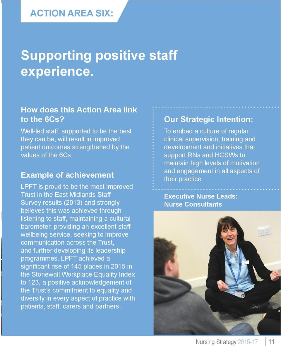 Example of achievement LPFT is proud to be the most improved Trust in the East Midlands Staff Survey results (2013) and strongly believes this was achieved through listening to staff, maintaining a