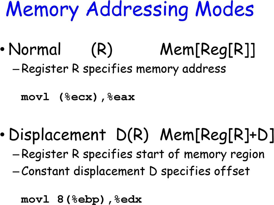 D(R) Mem[Reg[R]+D] Register R specifies start of memory