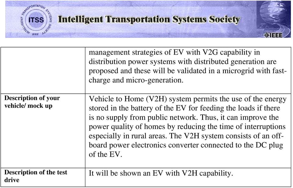 Description of your vehicle/ mock up Description of the test drive Vehicle to Home (V2H) system permits the use of the energy stored in the battery of the EV for feeding