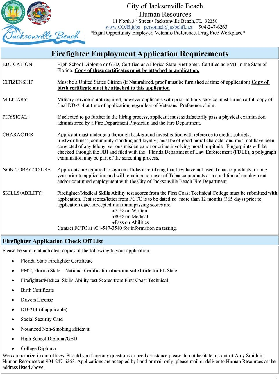 firefighter employment application requirements pdf