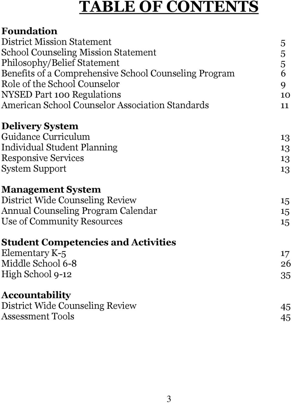 Individual Student Planning 13 Responsive Services 13 System Support 13 Management System District Wide Counseling Review 15 Annual Counseling Program Calendar 15 Use of
