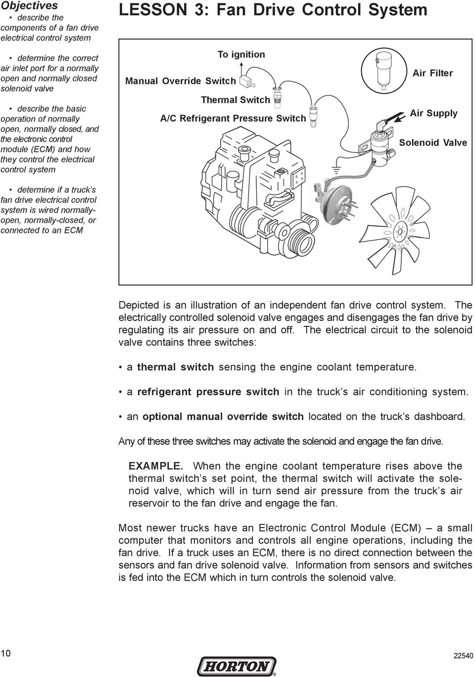 Heavy Duty Fan Drive Maintenance Training Manual Pdf Kenworth Engine Solenoid Wiring Diagram Electrical Control System Is Wired Normallyopen Normally Closed Or Connected To An Ecm
