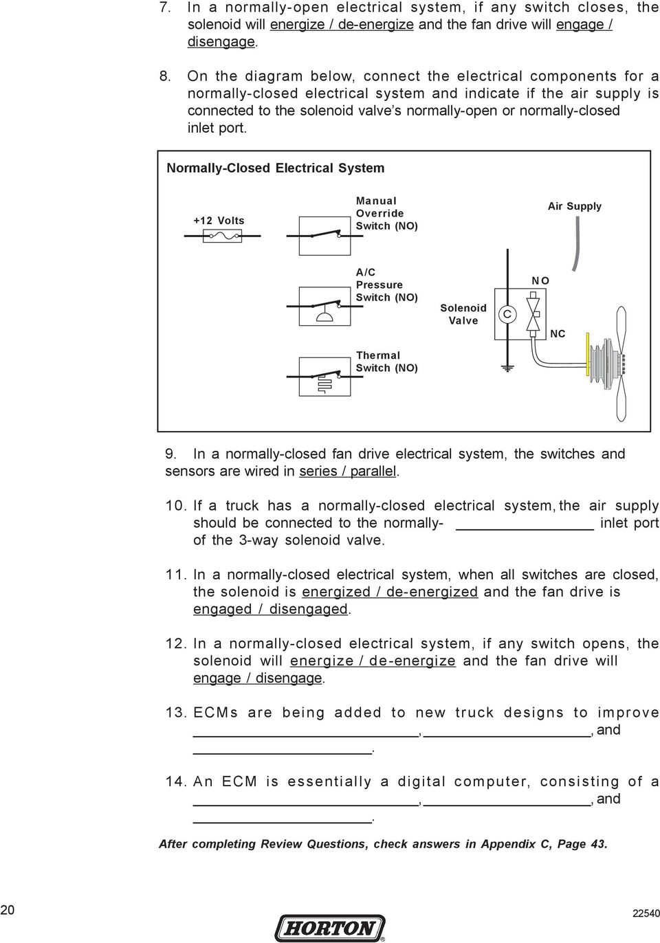 Heavy Duty Fan Drive Maintenance Training Manual Pdf Kenworth Engine Solenoid Wiring Diagram Normally Closed Electrical System 12 Volts Override Switch No