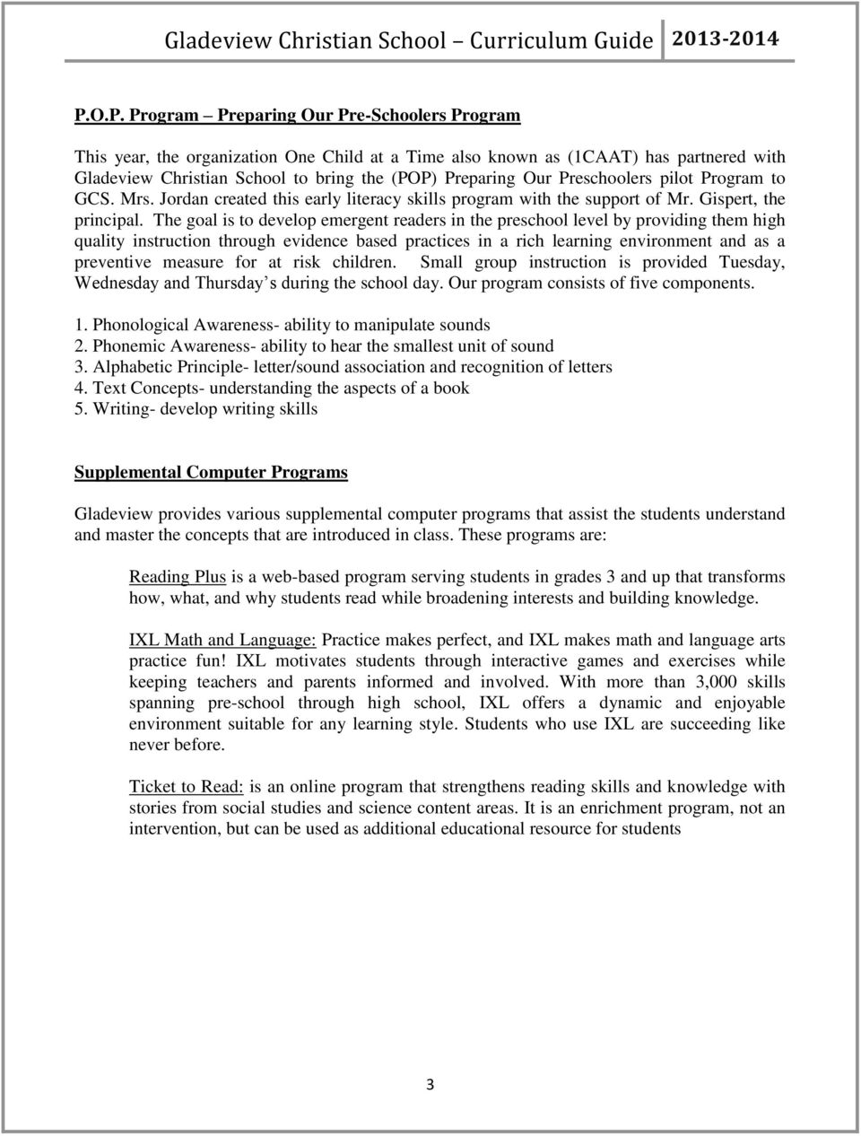 Gladeview Christian School Curriculum Guide - PDF
