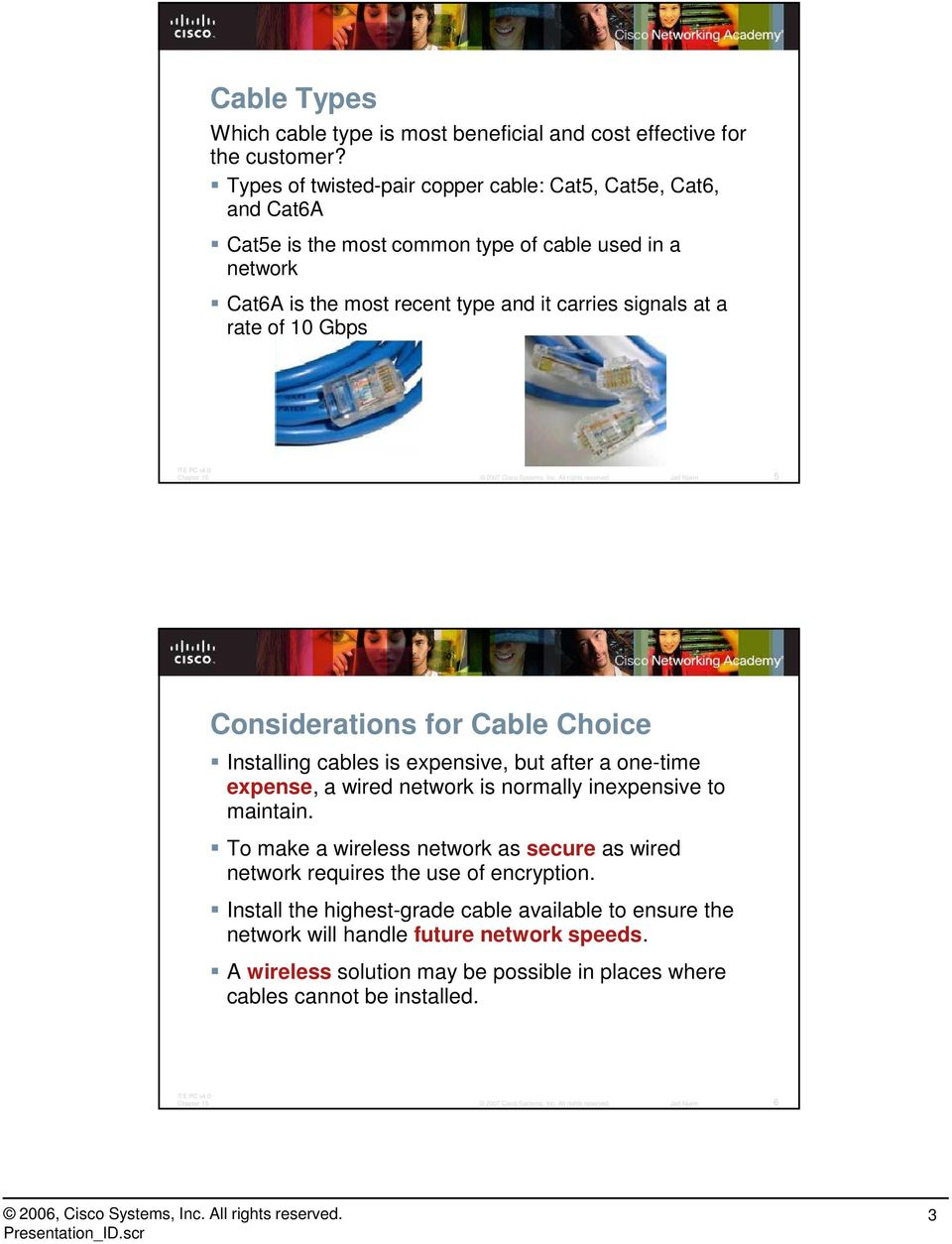 at a rate of 10 Gbps 5 Considerations for Cable Choice Installing cables is expensive, but after a one-time expense, a wired network is normally inexpensive to maintain.