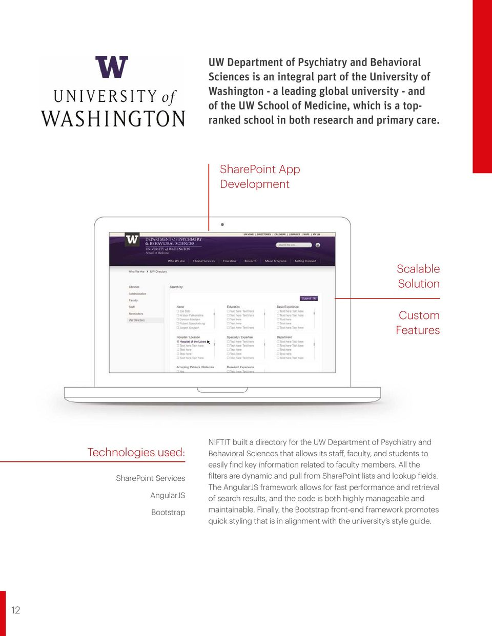 SharePoint App Development Scalable Solution Custom Features Technologies used: SharePoint Services AngularJS Bootstrap NIFTIT built a directory for the UW Department of Psychiatry and Behavioral