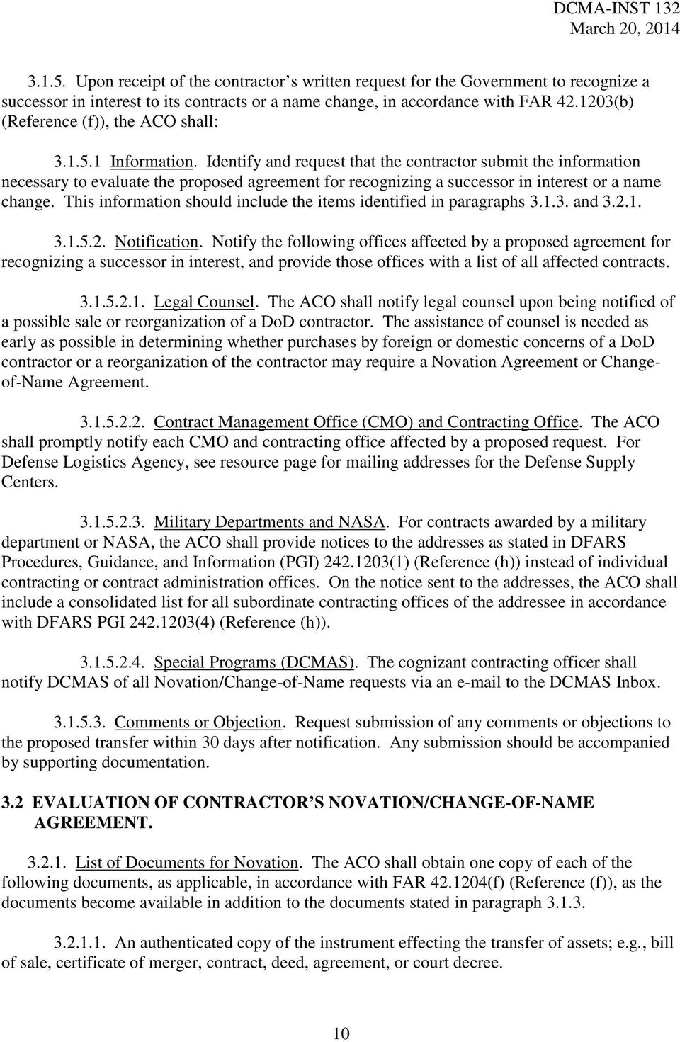 Department Of Defense Defense Contract Management Agency Instruction