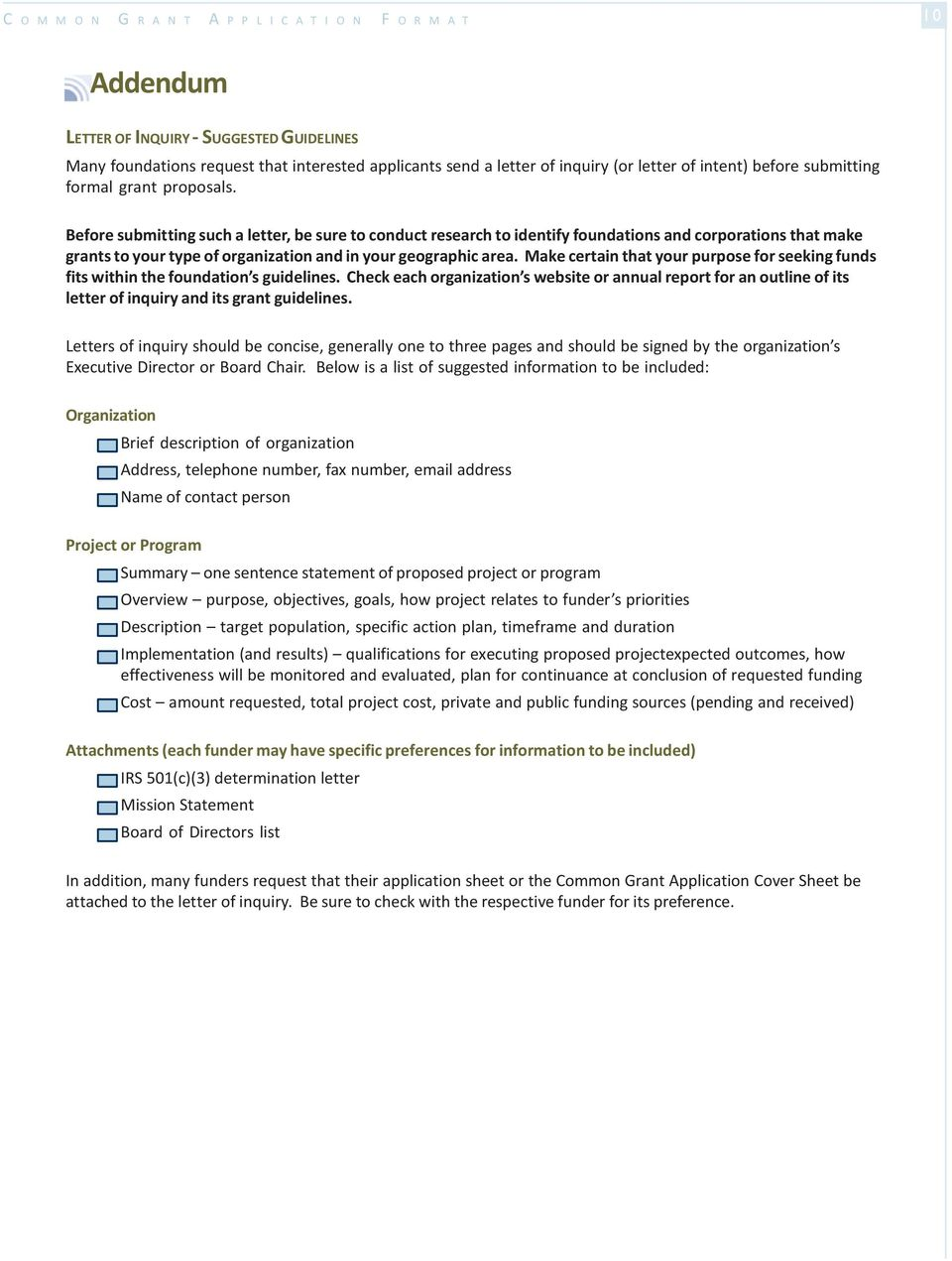 Before You Begin Common Grant Application Format Outline ...