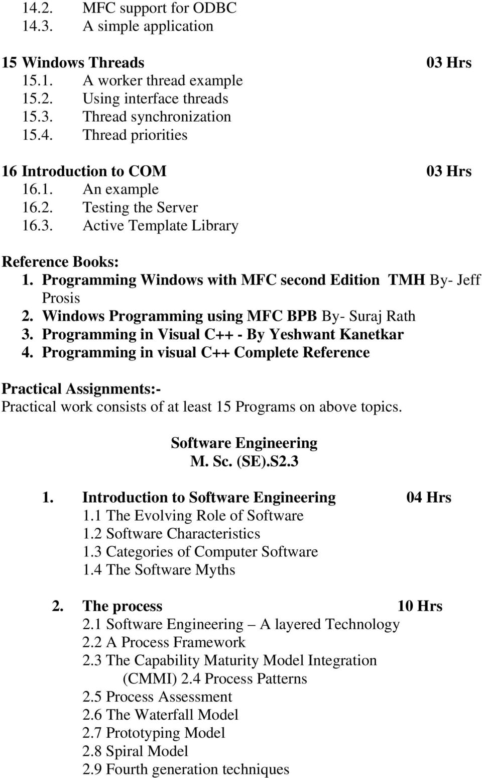 Syllabus of M Sc (SE)/Master of Science in (Software