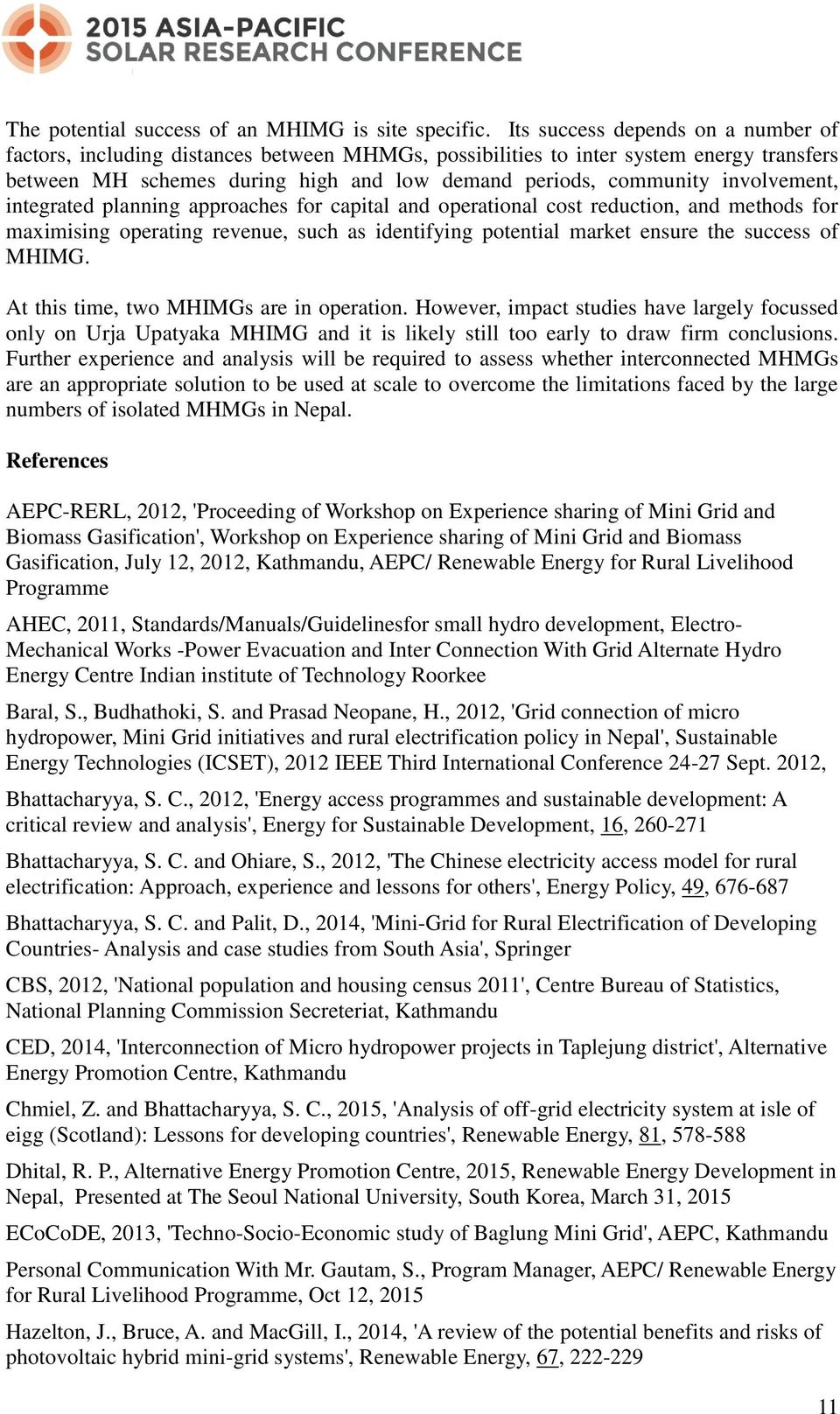 Micro Hydro Interconnected Mini Grids in Nepal: Potential