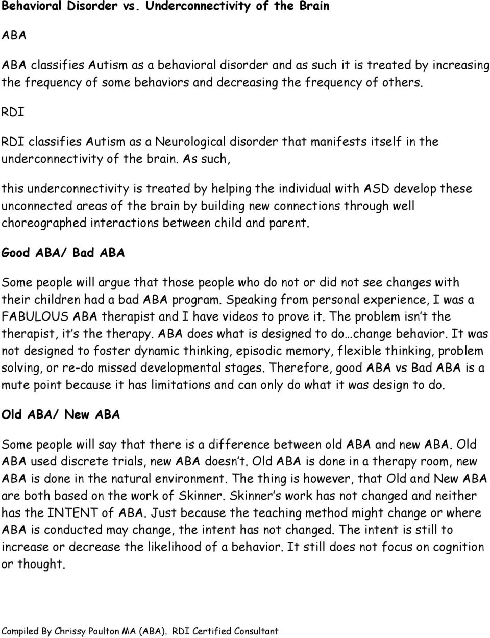 ABA AND RDI  Therapy vs  RDI Life Style ABA - PDF
