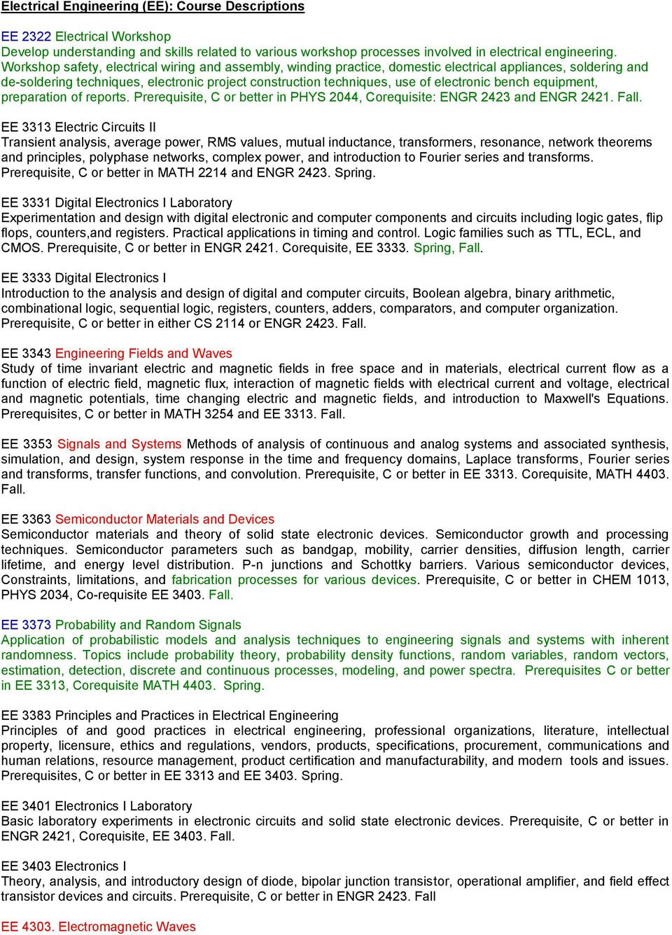 BSEE Degree Plan Bachelor of Science in Electrical