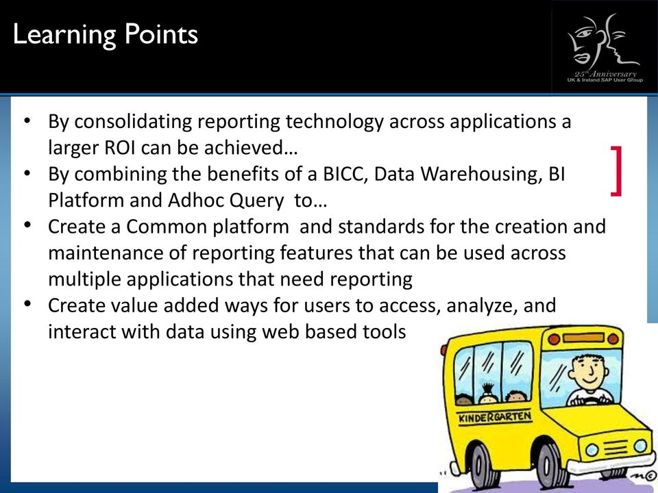 standards for the creation and maintenance of reporting features that can be used across multiple applications
