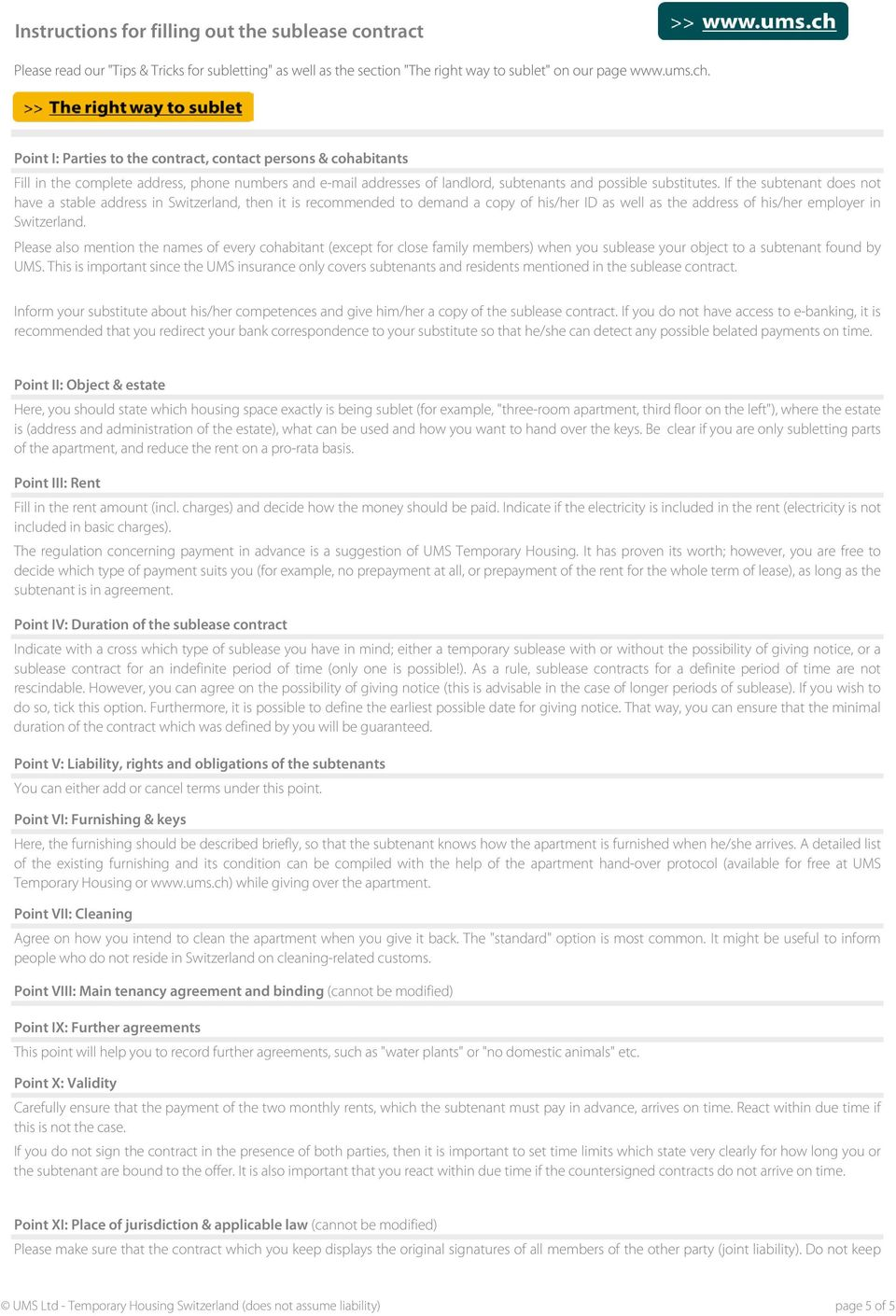 Free SUBLEASE CONTRACT template for Switzerland - PDF