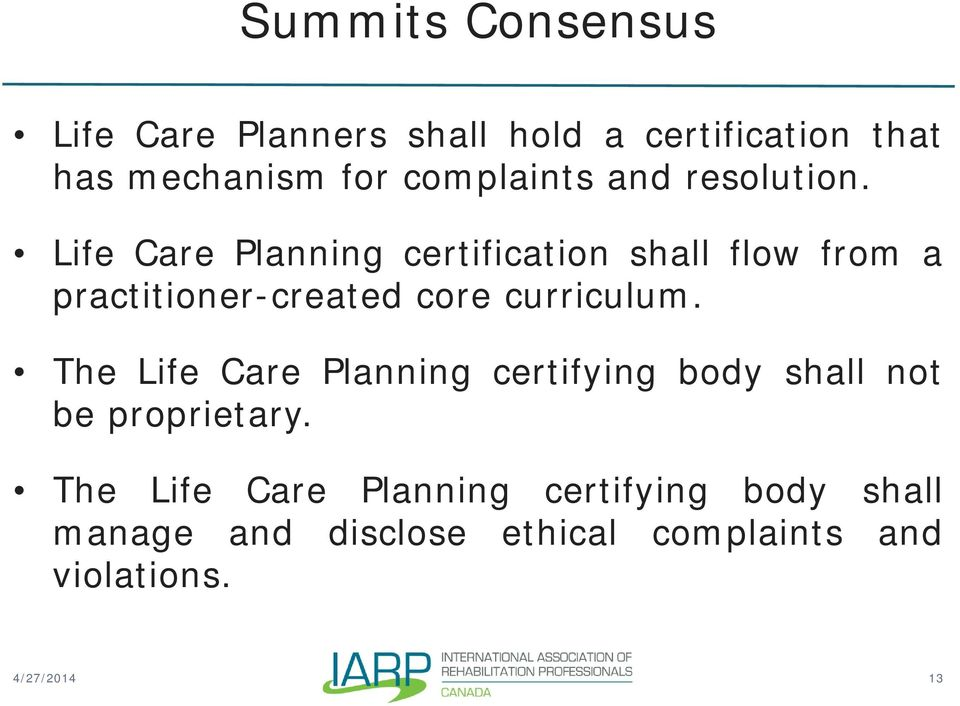 canadian trends in life care planning -