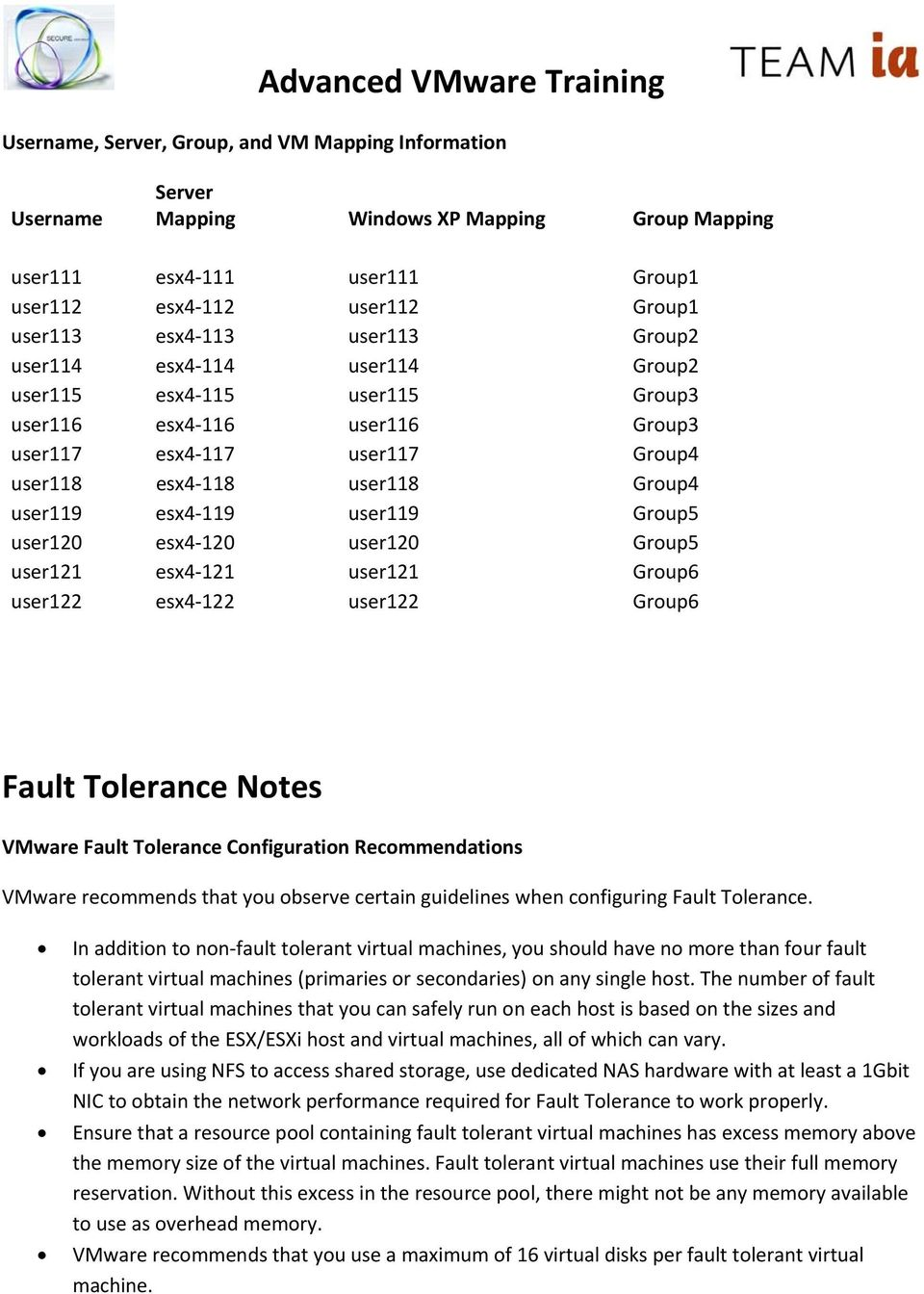 user120 esx4 120 user120 Group5 user121 esx4 121 user121 Group6 user122 esx4 122 user122 Group6 Fault Tolerance Notes VMware Fault Tolerance Configuration Recommendations VMware recommends that you