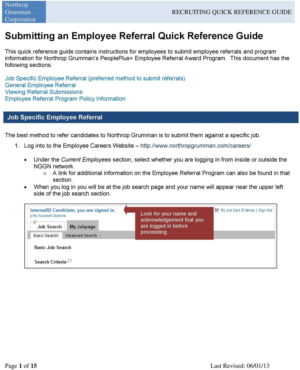Submitting an Employee Referral Quick Reference Guide - PDF