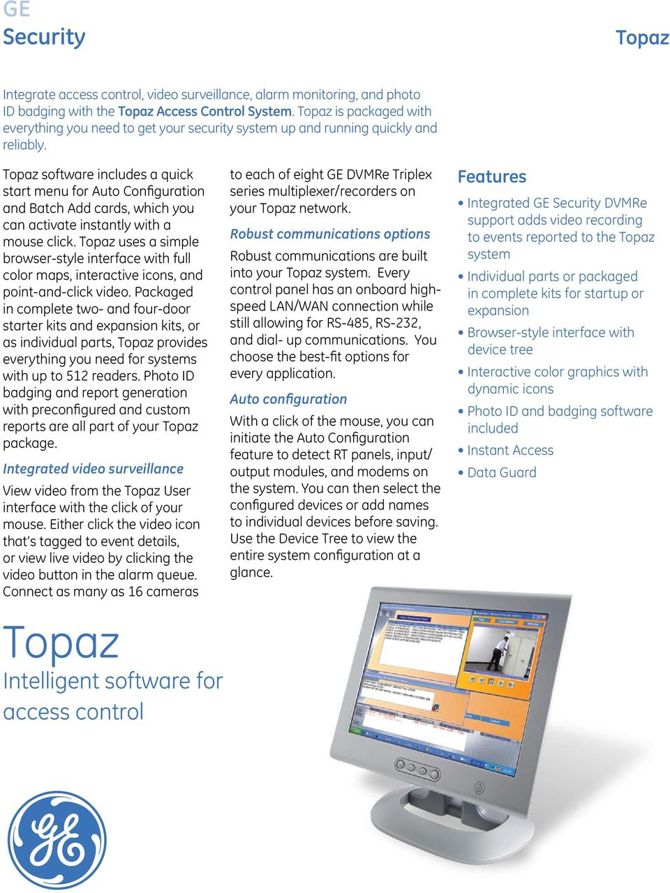 Topaz  GE Security  Intelligent software for access control  Topaz