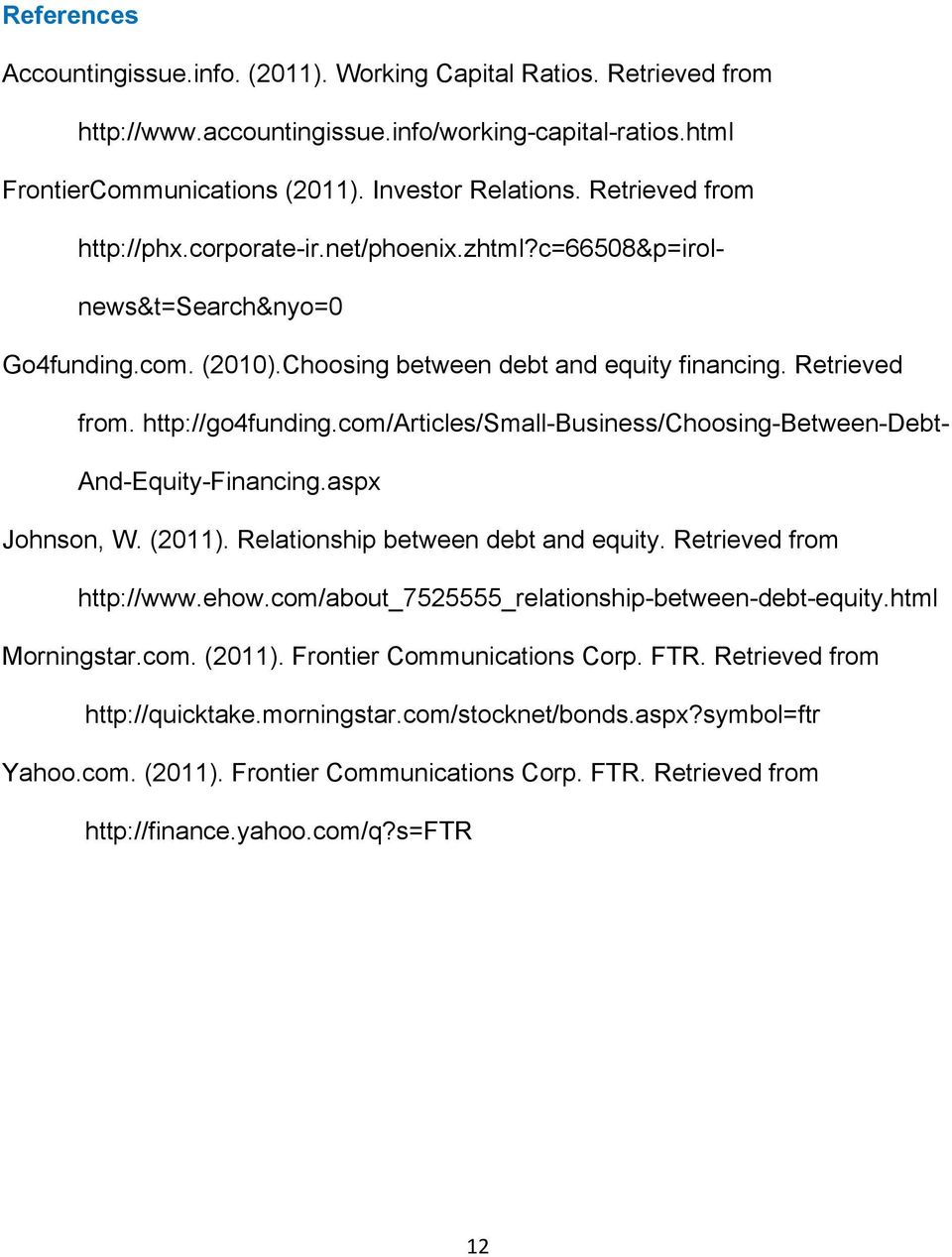 Financial Analysis For Frontier Communications Corp Ftr Pdf