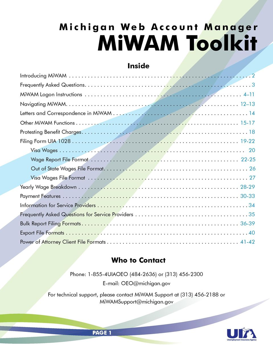 Michigan Web Account Manager Miwam Toolkit For Employers Pdf