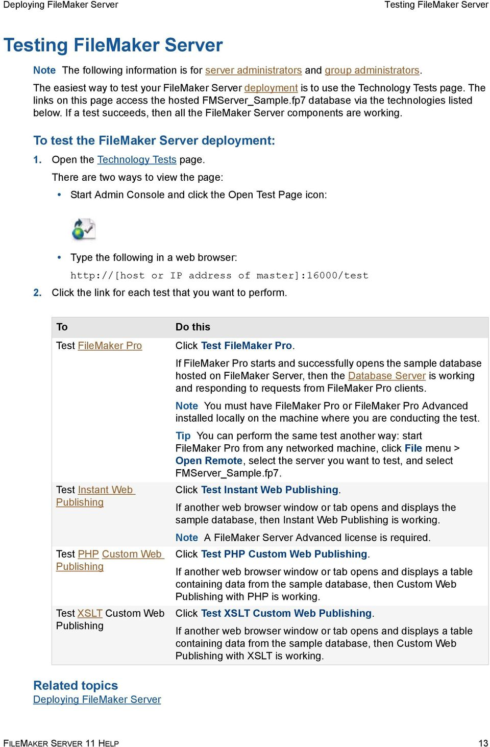 If a test succeeds, then all the FileMaker Server components are working. To test the FileMaker Server deployment: 1. Open the Technology Tests page.