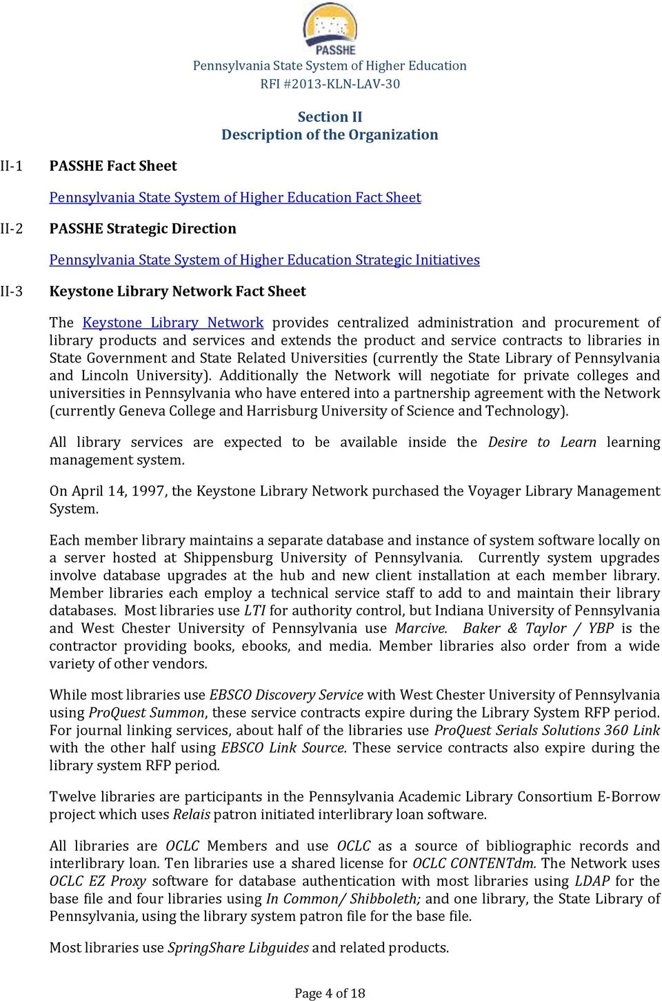 Request for Information (RFI) for an INTEGRATED LIBRARY