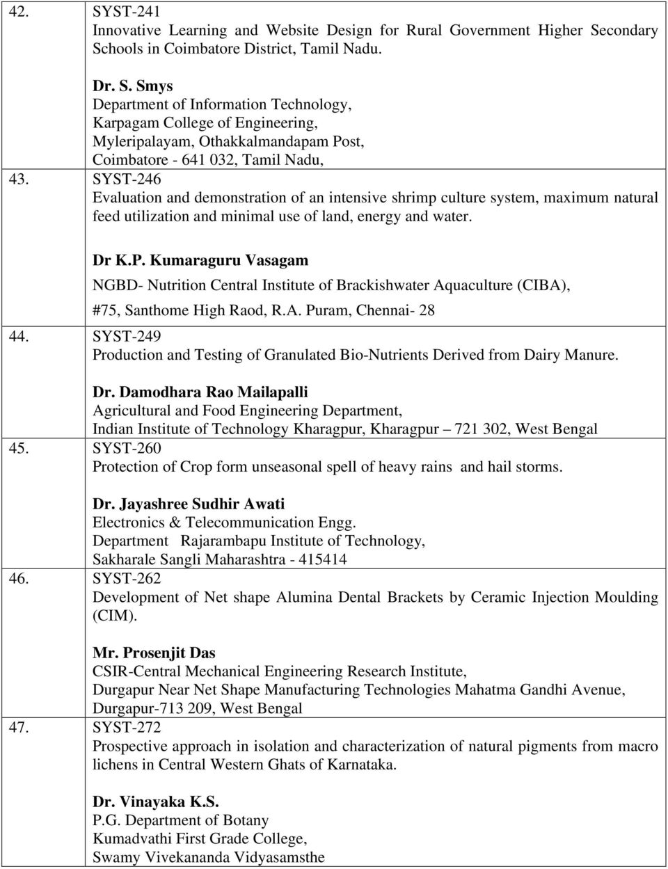 List of concept notes recommended under SYST scheme - PDF