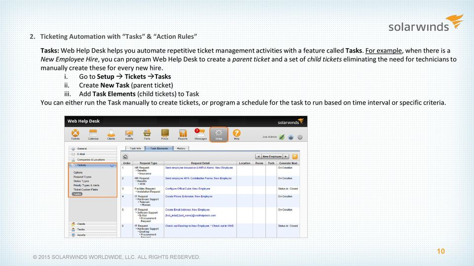 technicians to manually create these for every new hire. i. Go to Setup Tickets Tasks ii. Create New Task (parent ticket) iii.