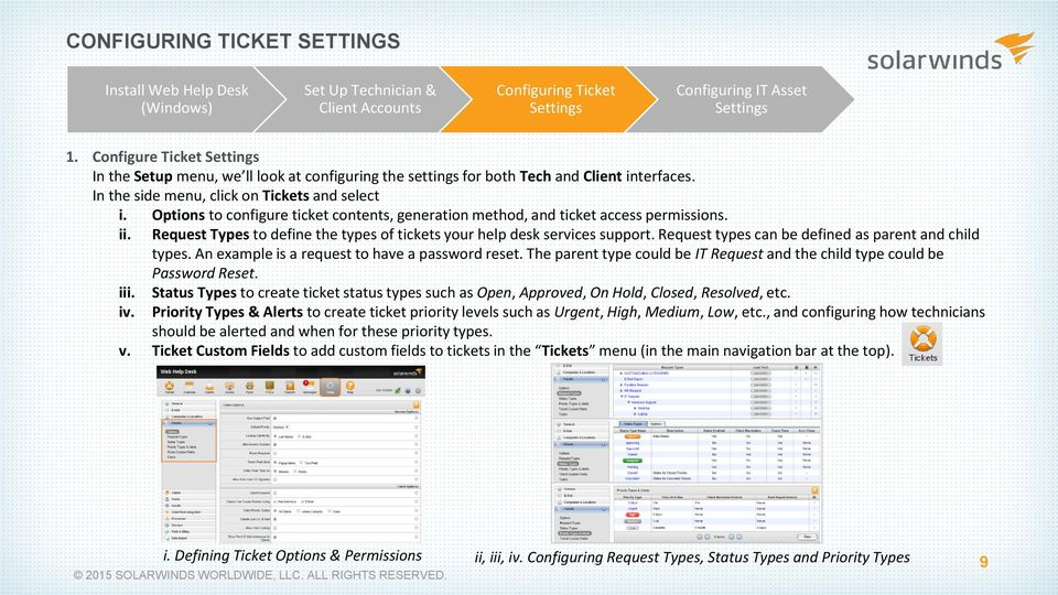 Options to configure ticket contents, generation method, and ticket access permissions. ii. Request Types to define the types of tickets your help desk services support.