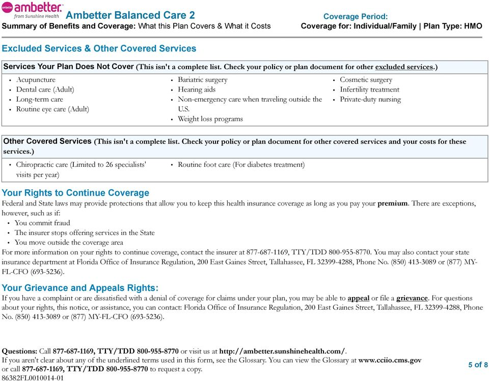 Ambetter Balanced Care 2 Summary Of Benefits And Coverage What This