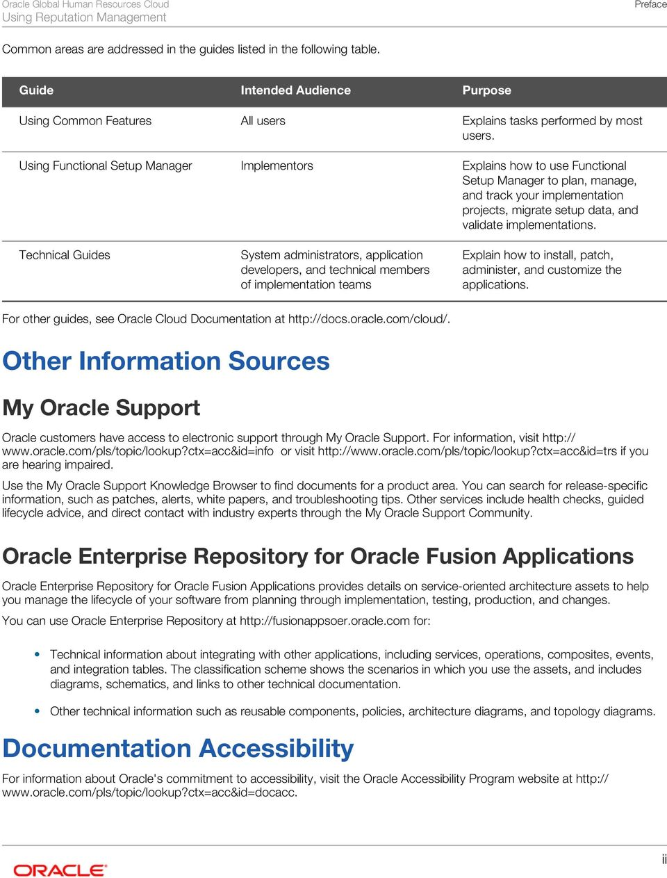 Oracle Global Human Resources Cloud Using Reputation