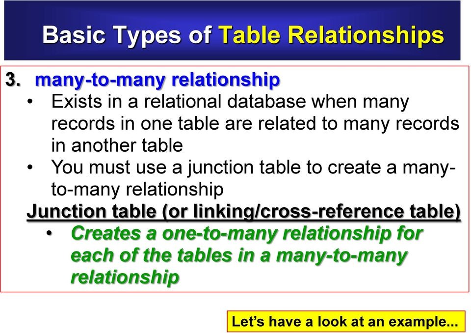to many records in another table You must use a junction table to create a manyto-many relationship