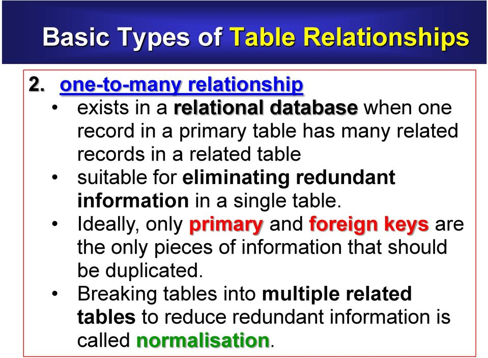 records in a related table suitable for eliminating redundant information in a single table.