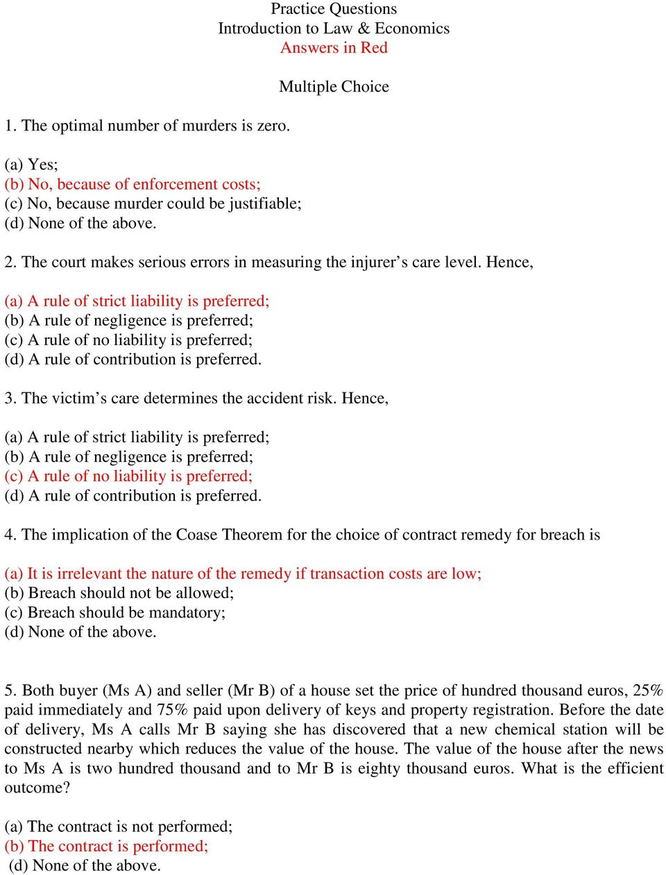 Practice Questions Introduction to Law & Economics Answers in Red