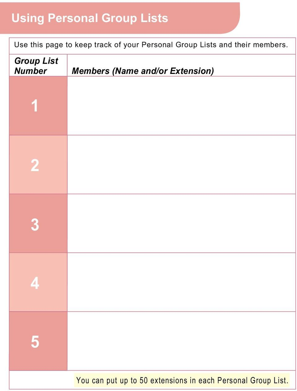 Group List Number Members (Name and/or Extension) 1 2 3