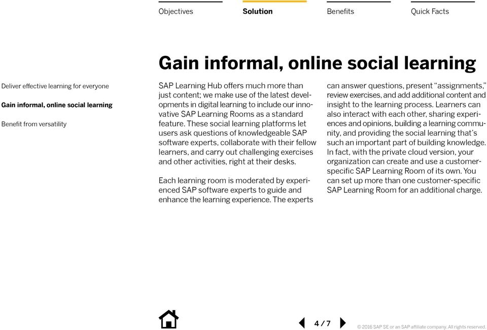 These social learning platforms let users ask questions of knowledgeable SAP software experts, collaborate with their fellow learners, and carry out challenging exercises and other activities, right